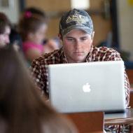 Appalachian student working on laptop computer
