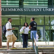 Students in front of Plemmons Student Union