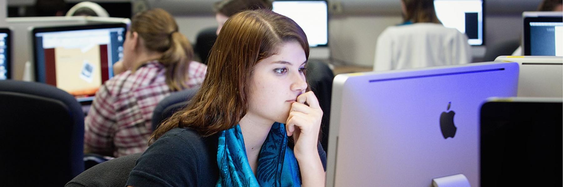ASU student at computer